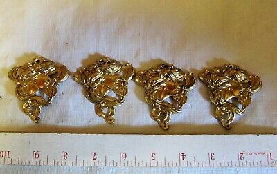 Vintage Art Nouveau Brass Escutcheons Lady set 4 stamped ormolu LQQK!