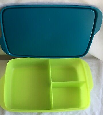 Tupperware Lunch It Large Container Green Blue 3 Compartments NEW