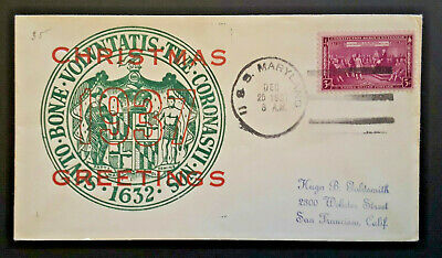 1937 USS Maryland To San Francisco CA MD State Seal Xmas Greetings Naval Cover