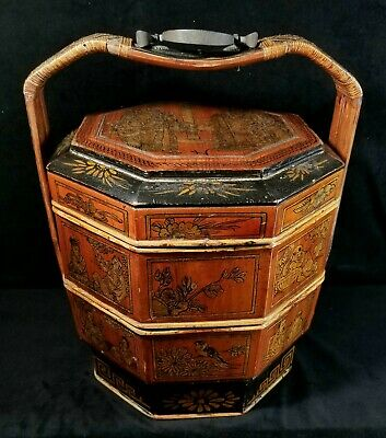 Antique Chinese Handpaintd Gilt 2Tier Split Bamboo Octagonal Wedding Basket FINE