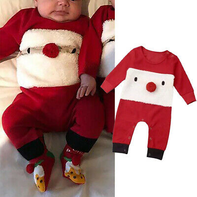 Toddler Baby Christmas Jumpsuit Boys Girls Long Sleeve Romper Grows Outfits