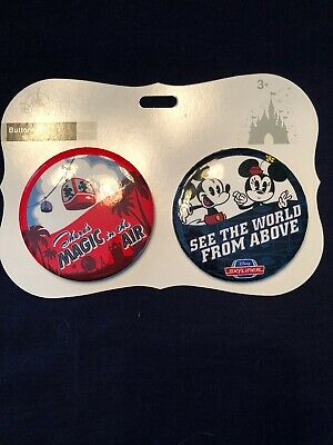 Disney Skyliner There's Magic In The Air And See The World Above Button Set NEW