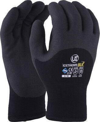 UCI ICETHERM-BLK Thermal Insulated 3/4 Coated Cold Work Gloves Winter Freezer
