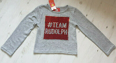 Bnwt Primark Grey & Red Sequin Change Xmas Jumper - Team Santa Team Rudolf