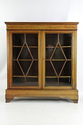 Large Antique Edwardian Inlaid Mahogany Bookcase - Display Cabinet Hall Cupboard