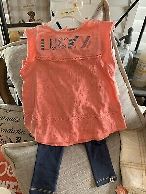 NWT Lucky Brand Girl's Outfit 2 Pc Set Leggings and Top Toddler 3T