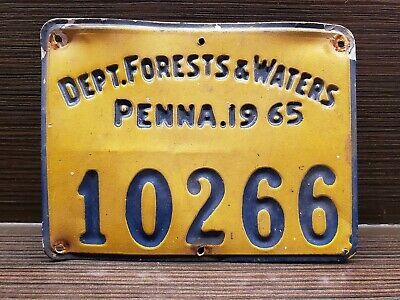 PENNA DEPT of FORESTS & WATERS License plate Pennsylvania Forestry Memorabilia