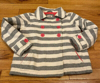 Mini Boden Girl's Soft Pea Coat Striped Grey Gray Pink 7-8