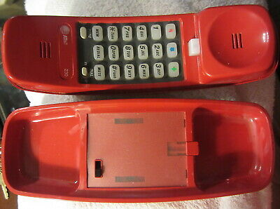 Vintage AT&T TrimLine 230 Push Button Touch Tone Phone Bright Red,telephone