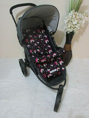 Pram liner set,universal,100% cotton fabric-Unicorns,black-Funky babyz,SALE*