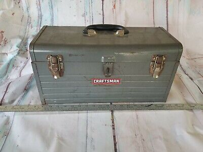 "Sears Craftsman USA 18"" Steel Toolbox Mechanics All Metal With Red Tray Vintage"