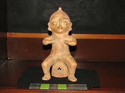 Pre Columbian, Pottery, Tested, Costa Rican, Nicoya, Sitting Figure, +900 1350