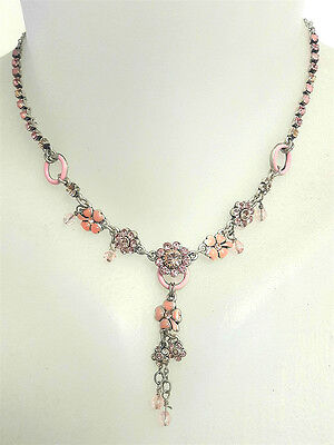 PILGRIM of  DENMARK Wine Enamel//Citron Crystal  Necklace with Adj Chain
