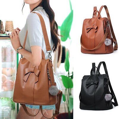Ladies Women Girls Backpack Travel Shoulder Bag PU Leather Rucksack Handbag UK