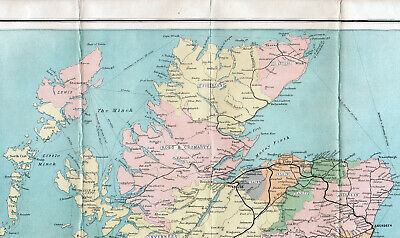 Scotland Ross Thurso Sutherland 1903 orig. part railway map Banff Nairn Aberdeen
