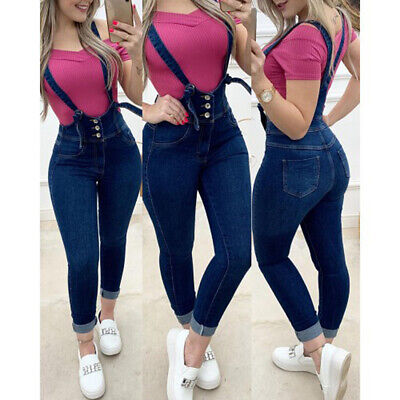 Women Ladies Denim Dungarees Slim Fit Jeans Stetchy Jeggings Bib Pants Overalls