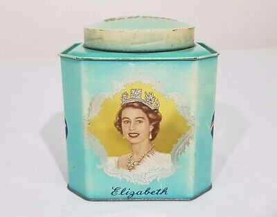 Vintage 1953 Coronation Queen Elizabeth Commemorative Bushells 1lb Tea Tin