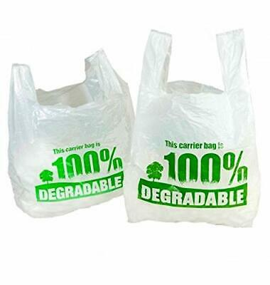"White Vest Carrier Bags 100% Degradable - Jumbo 13 X 19 X 23"" - Eco Friendly"