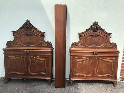 "Pair Of Antique Carved Walnut Single French Beds 62"" x 48"""