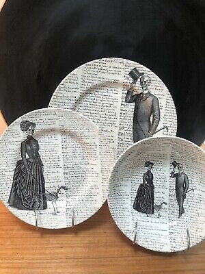 Trio Skull Gothic Victorian English Pottery - Royal Stafford Bowl And Plates