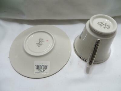 Lenox Holiday Dimension Ivory Platinum Christmas Bone China Tea Cup & Saucer New