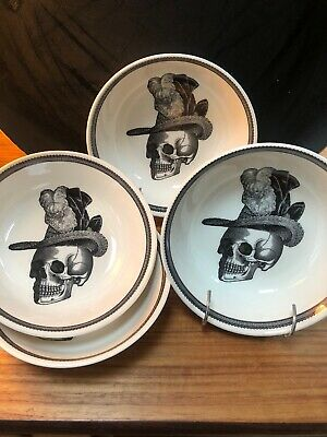 4 Bowls Skull Gothic Victorian English Pottery - Royal Stafford Dandy Skeleton