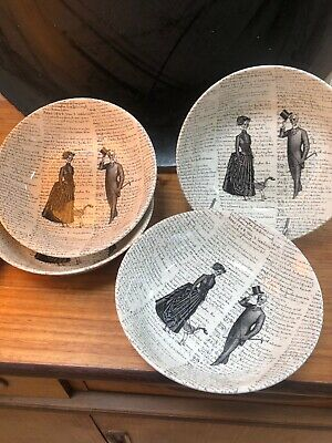 4 X Bowls Skeleton Script Gothic Victorian English Pottery - Royal Stafford