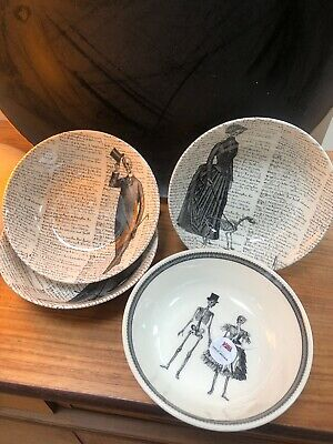 4 Mixed Bowls Skeleton Gothic Victorian English Pottery - Royal Stafford