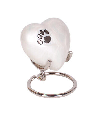 Small Pet Cremation Ashes Urn Dog Cat Memorial White Heart Keepsake Stand Box