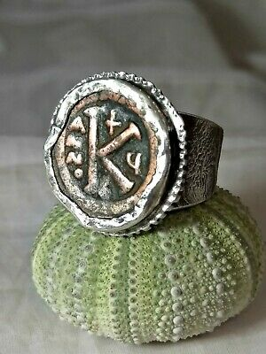 Ancient Byzantine Coin Ring Silver Statement Unisex Size 9.25 US Rare Amazing S