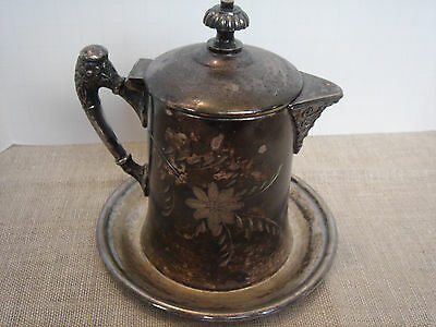 """Vintage Victorian Silverplated Syrup Pitcher on Dish  Maker """"Van Bergh"""" Etched"""