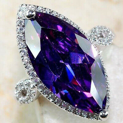 Engagement Rings Gorgeous Cut Amethyst Ring Wedding Size 6-10 Oval Silver plated