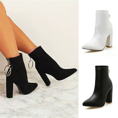 Sexy Women Metal Ring Back Zip Ankle Boots Point-Toe Party High Blcok Heel Shoes