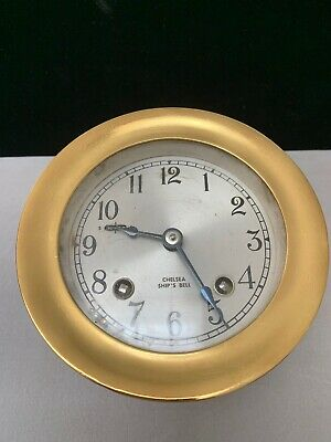 """Chelsea Classic,Maritime Ship's Bell Clock, Solid Brass ,4 7/8"""" Dia."""