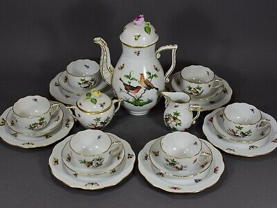 Herend Kaffeeservice Rothschild Vogel bird Butterfly coffee service cup plate
