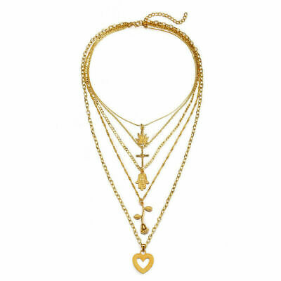 Chain Clavicle Choker Women Charm Multilayer Necklace Jewelry Pendant Rose Heart
