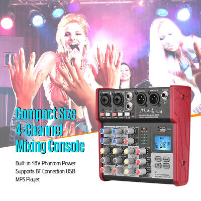 4-Channel Digtal Mic Line Audio Sound Mixer Mixing Console 2Bands Equalizer J1E2