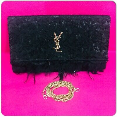 YVES SAINT LAURENT Perfume Lace & Feathers with YSL Gold Logo Evening Clutch