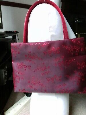 Satin  flower print sheen Dark Red Shoulder Bag