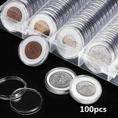 100x Coin Cases Capsules Holder Applied Plastic Rounds Storage Box+100 Gaskets