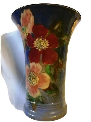 Rare Royal Doulton Hand-painted Floral Vase 10 In