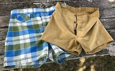 2 VTG Robert Bruce 60s Swim Trunks Suit Plaid W36 & Button-Fly Khaki W32 Lot