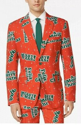 OPPO Suit Feliz Navidude Size 46 US Holiday Ugly Christmas Party  Wear Tie NEW