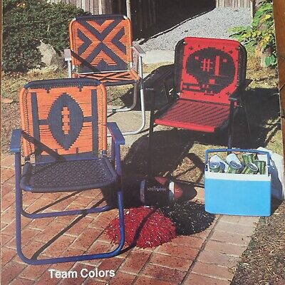 FURNITURE FAN-FARE Vtg Macrame Book Football Lawn Chairs 1982