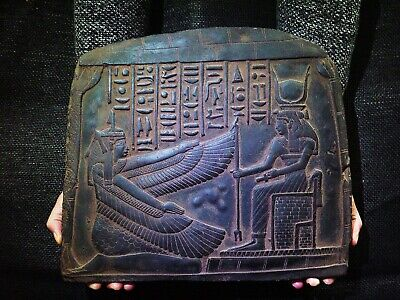EGYPTIAN ANTIQUE ANTIQUITIES Goddess Maat And Isis Stela Stele 2510-2370 BC