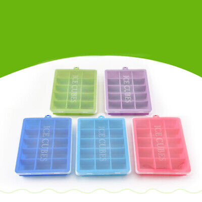 15- Hole Silicone Ice Cube Mold Tray &Square-shape Lid DIY Ice Jelly Moulds Tool