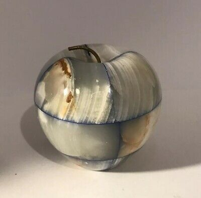 Alabaster Marble Stone Apple with stem Paper Weight Kitchen Office Decor Vintage