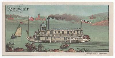 Saint Jacob's Oil  Patent Medicine trade card  Steamboat Paddlewheeler  Souvenir
