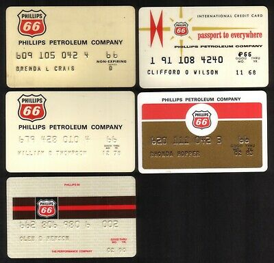Phillips 66 Oil - Phillips Petroleum Company Credit Cards: 1966 // 1990  5 Diff.