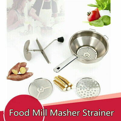 Stainless Steel Food Mill Vegetable Mill Rice Mixer Grinder + 3 Milling Discs